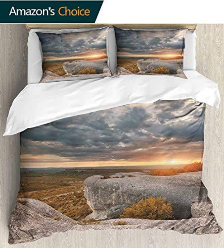 shirlyhome Mountain Kids Quilt 3 Piece Bedding Set,Composition of Nature Autumn Landscape Dramatic Cloudscape Rock Formation Bedding Sets,1 Duvet Cover,1 Pillowcase 90