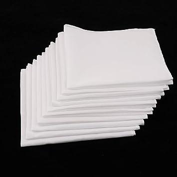 XIJUGE Los Hombres Bridas y Pañuelos Blancos, 10pcs pañuelo Mujeres Pañuelos 100% algodón Lavable Plaza Super Suave pañuelo de Bolsillo en el Pecho Toalla Cuadrada de 28 x 28cm: Amazon.es: Electrónica