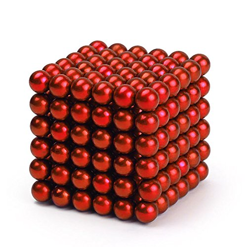 Magnetic Ball Cube Puzzle, 216 Pcs Magic Beads Sculpture DIY Intelligence Toys for Office Stress Relif Decompression (Red)