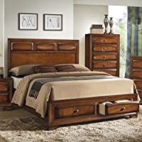 Roundhill Furniture Oakland 139 Antique Oak Finish Wood Queen Size Storage Platform Bed