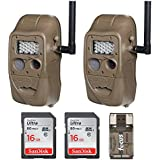 Cuddeback (2) CuddeLink J Series Networked Long Range IR Trail Cameras with 16GB Cards and Focus USB Reader