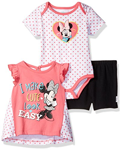 innie Mouse 3-Pack Top, Bodysuit and Short Set, Camellia Rose, 18m (Baby T-shirt Bodysuit Short)