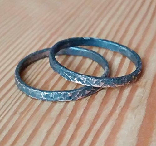 Handmade His and Hers Personalized Wedding Promise Ring Set Alternative Matching Rings for him and her, Patina Hammered Textured Copper Rings Bands - Textured Copper Ring