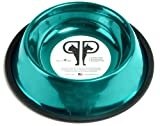 Platinum Pets 10 Cup Caribbean Teal Stainless Steel Embossed Non-tip Dog Bowl, My Pet Supplies
