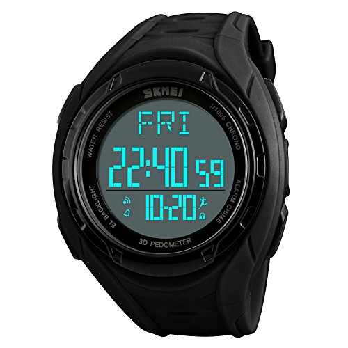 eYotto Multi-function Sports Digital Watch Waterproof with Pedometer/Chronograph/Memory/Calorie Tracker for Men Women Wristwatch Black ()