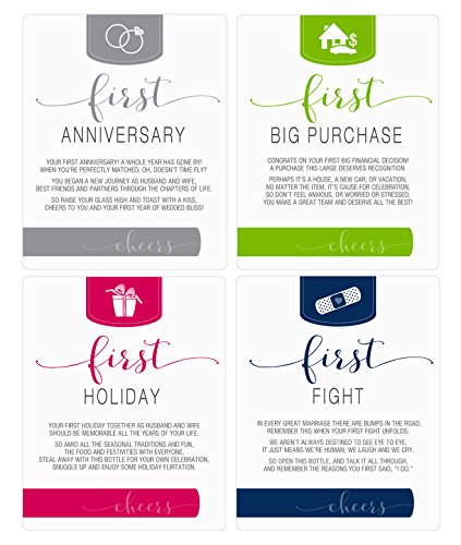 Wine Bottle Labels for bridal shower gift, wedding gift, Wedding milestones, Wedding Firsts (Husband & Wife) by Sblabels (Image #1)