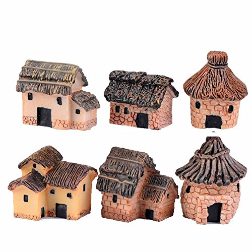 6 Pcs Mini Resin Village House Fairy Garden Kits Figurines for Miniatures Ornaments Fairies Gardens House Terrarium Kit Dollhouse Supplies DIY Outdoor Decorations Plant Pot Micro Landscaping Decor