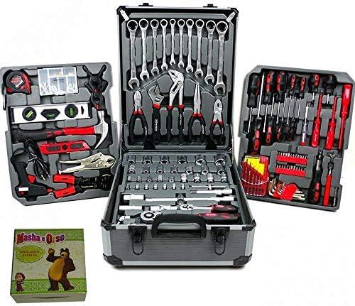Caja de herramientas completa con carrito de transporte profesional, maletín de cromo vanadio con juego de 187 herramientas (incluye llaves inglesas fijas): Amazon.es: Bricolaje y herramientas