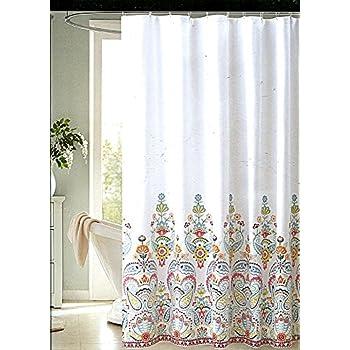 """White 72/"""" x 72/"""" Envogue International Alda Shower Curtain"""