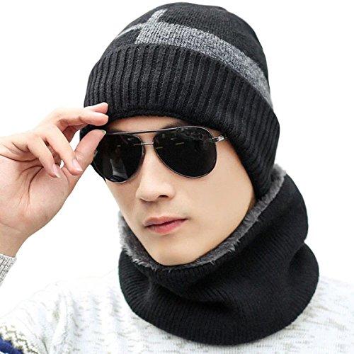JOYEBUY Men's Soft Beanie Hat Scarf Set Knit Hat Warm Thick Winter Hat (Style 2-Black)