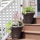 Sunnydaze Crozier Outdoor/Indoor Flower Pot Planter, Heavy-Duty Double-Walled Polyresin with Fade-Resitant Rust Finish, Set of 2, 16-inch Diameter