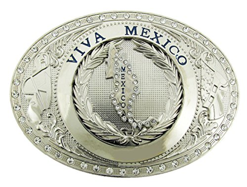 Mexico Oval Flag Mexican Nation Country Belt Buckle New Bling Gold (New Belt Bling Buckle Crystal)