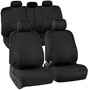 BDK PolyCloth Black Car Seat Covers - EasyWrap Interior Protection, Black