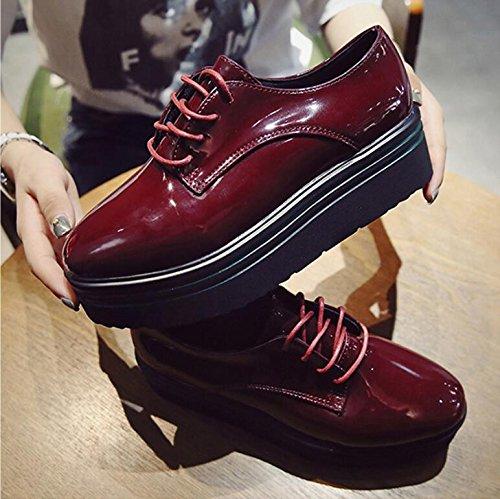 KHSKX-Rot England Frauen Schuhe Runder Kopf Kleine Kuchen Dicke Schuhe Studenten Koreanische Version Von Casual Schuhe Mit Einem Einzigen Weiblichen Und 38