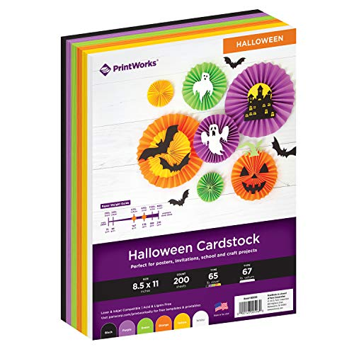 Printworks Halloween Cardstock, 6 Assorted Colors, Perfect for Holiday School and Craft Projects, 200 Sheets, 8.5
