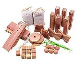 Wahdawn Natural Closet Moth Repellent Mildew Protection Cedar Set 40pcs - Hangups, Sachets