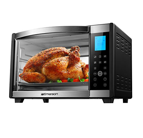 Emerson Convection & Rotisserie Countertop Toaster Oven, 6-Slice, Stainless Steel, Digital Touch Control Panel, (Emerson Small Appliances)