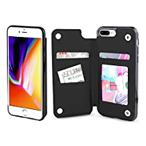 Gear Beast iPhone 8 Plus / 7 Plus Wallet Case, Top View Flip Folio For iPhone 8 Plus/7 Plus Slim Protective PU Leather Case 4 Slot Card Holder Including ID Holder Plus Cash Slot For Men andWomen