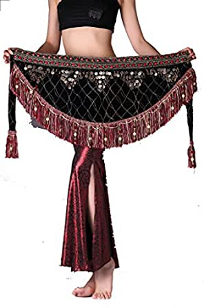 ZLTdream Women's Tribal Belly Dance Hip Scarf with tassel & copper Dark Red