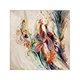 Innovation Modern Canvas Prints Watercolor Peacock and Butterfly Painting Canvas Wall Art 16' x 16' Inch, Decorative Fashion Elegant Canvas Print Wall Art Stretched and Framed