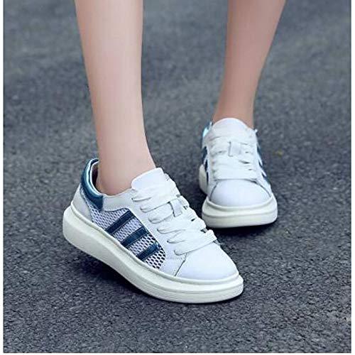 ZHZNVX Zapatos de Mujer Nappa Leather Spring/Summer Comfort Sneakers Flat Heel Cerrado con Punta Red/Blue / Pink Black