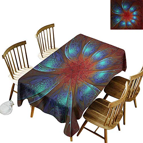SLLART Rectangle Oblong Table 3D Rendering of Plastic Background with Embossed Fractal on Leather W 54