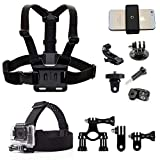 Action Camera Accessories Handlebar Head Chest Mount Strap Harness Adaptor with Cell Phone Clip for Sony Action Cam/XiaoMi YI 4K+4K,Lite/Gopro Hero/iPhone Xs Max XS XR 8+7+6+5 Any Cellphone Selfie