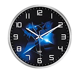Color Map-Silvery Wall Clock, 12 Inch Silent Non Ticking Quality Quartz Battery Operated Easy to Read Home/Office/School Clock, with Stainless Steel Frame(Blue Flame,Silver)