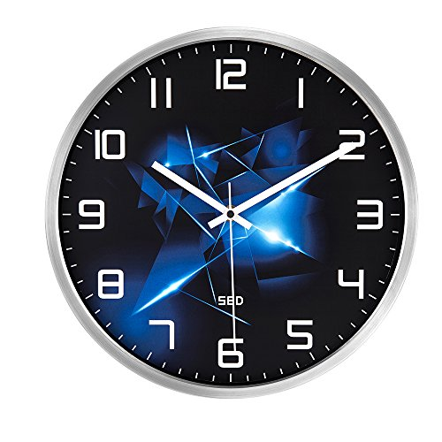 Color Map Silvery Wall Clock, 12 Inch Silent Non Ticking Quality Quartz Battery Operated Easy to Read Home/Office/School Clock, With Stainless Steel Frame(Blue Flame,Silver)