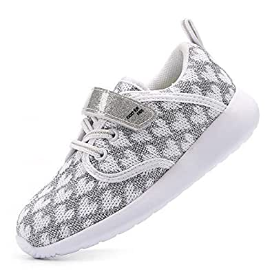 EIGHT KM Girls Toddler Kids EKM7026 Lightweight Breathable Heart Grey Sparkly Fabric Trainers School Shoes Size 5 UK
