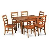 East West Furniture MLPF7-SBR-W 7-Piece Dinette Table Set For Sale