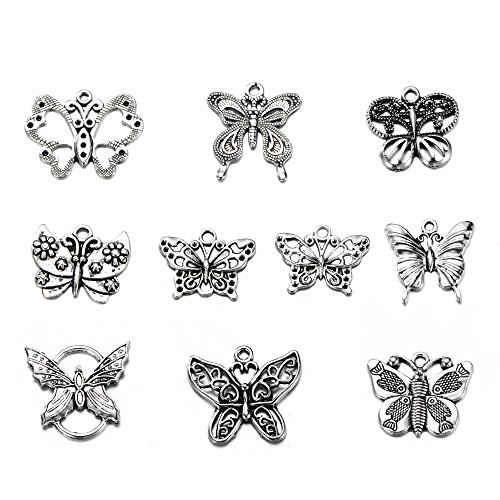 20pcs Mixed Tibetan Silver Plated Butterfly Charm Pendant for Bracelet Necklace Jewelry Accessories Making Handmade DIY (20pcs)