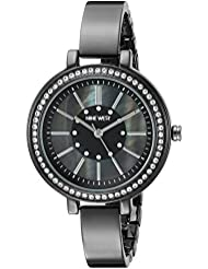 Nine West Womens NW/1747GMGN Swarovski Crystal Accented Gunmetal Bangle Watch