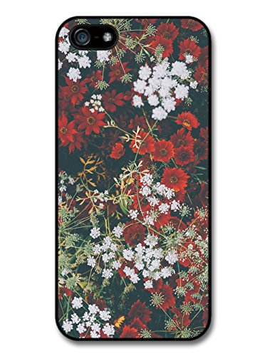 Rustic Retro Vintage Floral Photograph Pattern with Red and White case for iPhone 5 5S