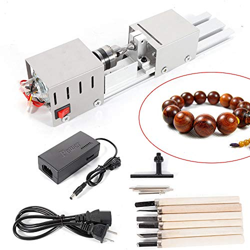 BACHIN Mini Lathe Beads Polisher Machine Diy CNC Machining for Table Woodworking Wood DIY Tool Lathe Standard Set DC 24V 100W