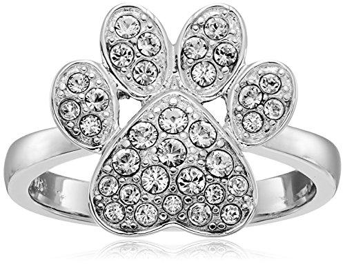 Rhodium Plated Sterling Silver White Swarovski Crystal Dog Paw Ring, Size 7