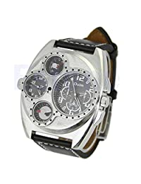 Oulm Mens Dual Sports Military Watch with Compass and Thermometer Decoration Big Dial - Black