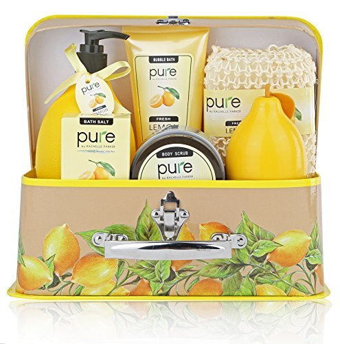 Deluxe Natural Spa Gift Basket with Lemon Essential Oils, Aromatherapy Spa Baskets with Bubble Bath, Shower Gel, & Body Lotion Gift Set for Women and Teens.Relaxation Gift kit for Women,Thank You Gift ()
