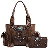 Western Style Cowgirl Fringe Concealed Purse Conchos Totes Country Women Handbag Shoulder Bags Wallet Set (2 Brown Set)