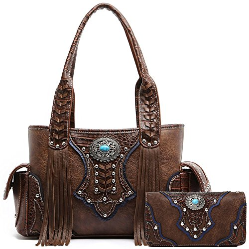 Western Style Cowgirl Fringe Concealed Purse Conchos Totes Country Women Handbag Shoulder Bags Wallet Set (2 Brown Set) ()