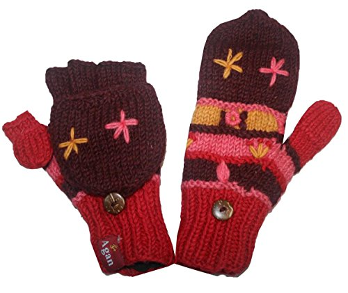 1418 G Agan Traders Hand Knit Wool Folding Mitten (Folding G - Red)
