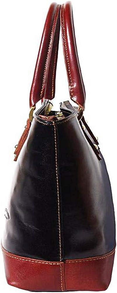 FLORENCE LEATHER MARKET Borsa donna a mano e a spalla in vera pelle 29x12x28 cm - Tote - Made in Italy Nero/Marrone
