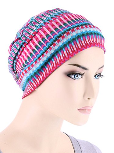 Casual Wig (Chemo Cap Womens Beanie Sleep Turban Hat Headwear For Cancer In Hot Pink Tie Dye Stripe)