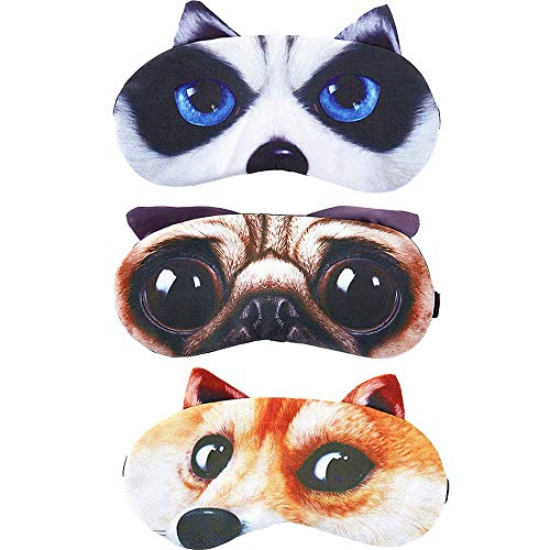 HappyDaily Beautiful and Comfortable Sleep Masks - Set of 3 (3D Dog - Husky/Akita/Pug)