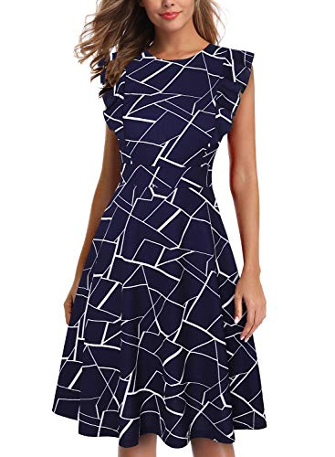 IHOT Women's Vintage Ruffle Floral Flared A Line Swing Casual Cocktail Party Dresses (S, Navy White Stripe)