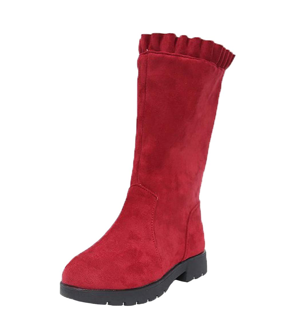 WUIWUIYU Girls' Fashion Side Zipper Round Toe Suede High Boots Red Size 4 M
