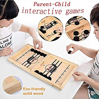 moopok Fast Sling Puck Game ,Slingshot Games Toy,Table Hockey Party Game,Wood Tables Family Games,Winner Board Games Toys for Parent-Child (22x11.8x0.98in)