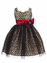 WonderfulDress Leopard Print Girl Dress with Mesh Overlay-Champagne/Red-2
