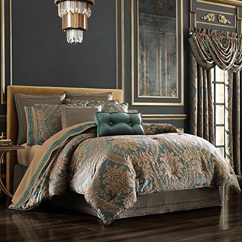 Five Queens Court Modesto Woven Jacquard 4 Piece Luxury Comforter Set, Emerald Green, King 110x96 (Luxury Bedding Gold)
