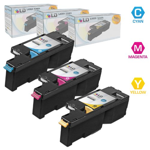 LD Compatible Toner Cartridge Replacement for Dell Color Laser 1250c 1350 1760 High Yield (Cyan, Magenta, Yellow, 3-Pack)